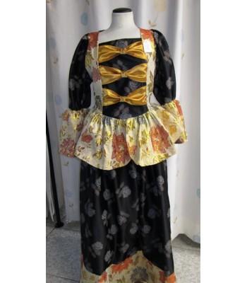 Vestido negro y flores epoca.